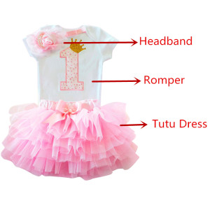 3pcs Letter Print Rompers+tutu Dress+Headband Birthday Outfits 1 2 Year Old Baby Girl Dress Newborn Girls Christening Clothing(China)