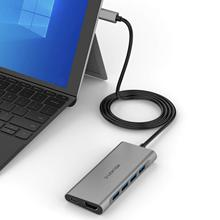 Lention uzun kablo USB C Multiport Hub ile 4K HDMI, 4 USB 3.0, tip C şarj adaptörü MacBook Pro 13/15 için (Thunderbolt 3)