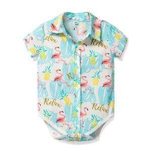 Noworodek Onesies ubrania dla dzieci śpioszki dla chłopców Flamingo stroje marka projekt body dla 0-24M chłopców sukienka z topem skręcić w dół