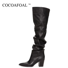 COCOAFOAL Sexy Women #8217 s High High Over The Knee Boots Woman Autumn Winter Boots Plus Size Fashion Over The Knee Boots Thigh High cheap Stretch Fabric Over-the-Knee Fits true to size take your normal size Pointed Toe Solid Square heel Basic Bonded Leather