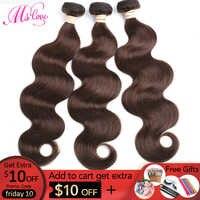 MS Liebe #4 Braun Körper Welle Haar Bundles 1 stück Brasilianische Menschliches Nicht-Remy Haar Extensions 100 Gramm freies Verschiffen