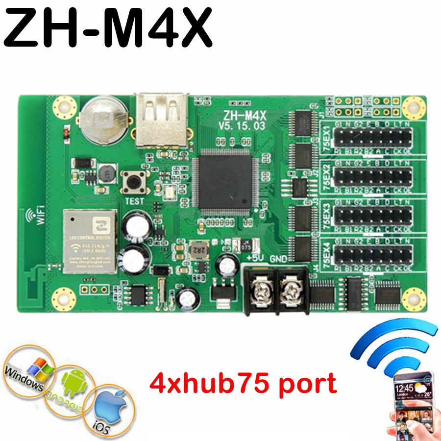 ZH-M4X Asynchronous USB + Wifi Full Color Led Control Card With 4*hub75 Port 384*64 Pixels For P3,p4,p5,p10 Lintel Display