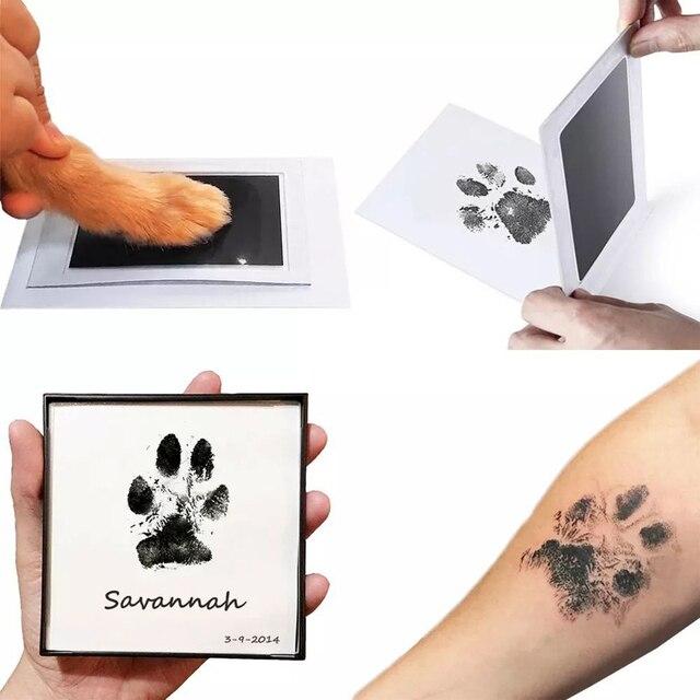 As pegadas não tóxicas seguras do bebê handprint nenhuma pele do toque inkless tinta almofadas kits para 0-6 meses recém-nascidos do cão de estimação pata imprime lembrança 1