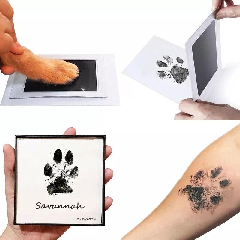 Sicher Nicht giftig Baby Footprints Handabdruck Keine Touch Haut Tintenlosen Tinte Pads Kits für 0-6 monate Neugeborenen haustier Hund Pfote Druckt Souvenir