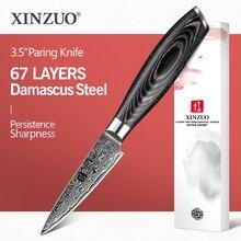 Нож для чистки овощей и фруктов из дамасской стали, 3,5 дюйма, 67 слоев