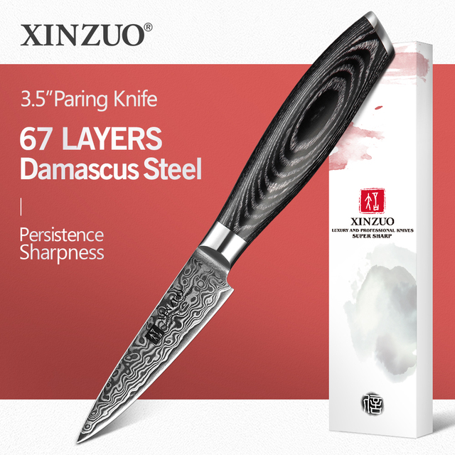 "XINZUO 3.5"" inch Paring Knife Japan  67 Layers Damascus Steel Kitchen Knives Super Sharp Peeling Fruit Knife Pakkawood Handle"