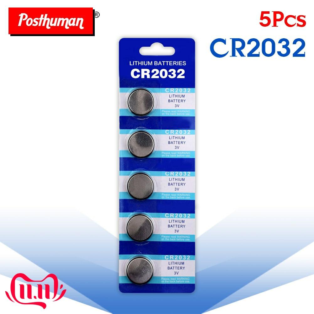POSTHUMAN Hot 5Pcs Cr2032 CR 2032 3V Lithium Coin Cells Button Battery 5004LC ECR2032 CR2032 DL2032 KCR2032 3v Lithium Battery
