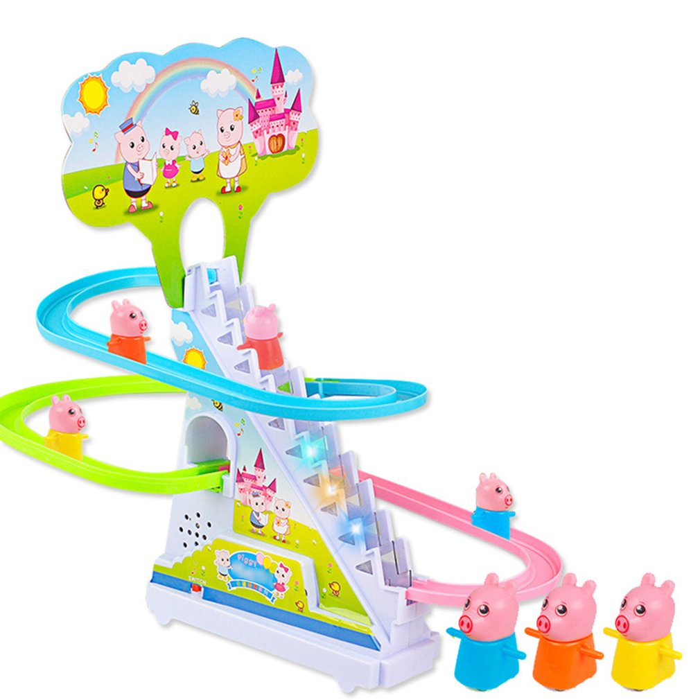 Pig Crawling Stairs Light Music Track Pink Pig Baby Toys Electric Track Puzzle Boy Girl Parent-Child Interactive Toy Kids Gift