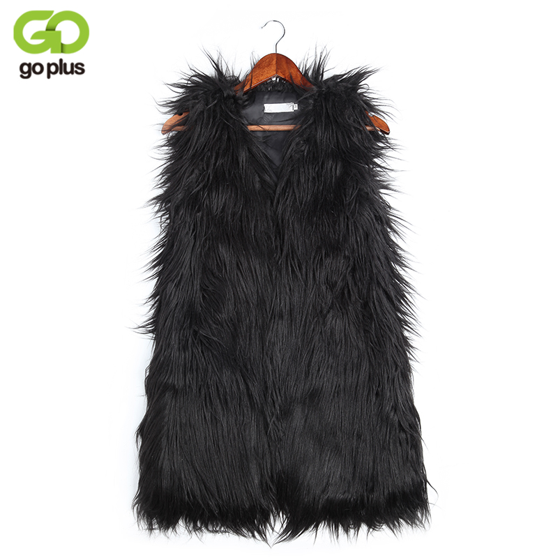 GOPLUS Winter Women's Faux Fur Coat Vest Jacket Plus Size V-Neck Luxury Faux Fake Fox Fur Vest Kamizelka Futerko Fourrure Femme