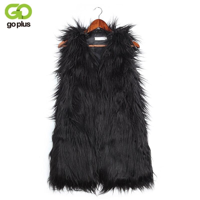 GOPLUS Winter Women's Faux Fur Coat Vest Jacket Plus Size V-Neck Luxury Faux Fake Fox Fur Vest Kamizelka Futerko Fourrure Femme