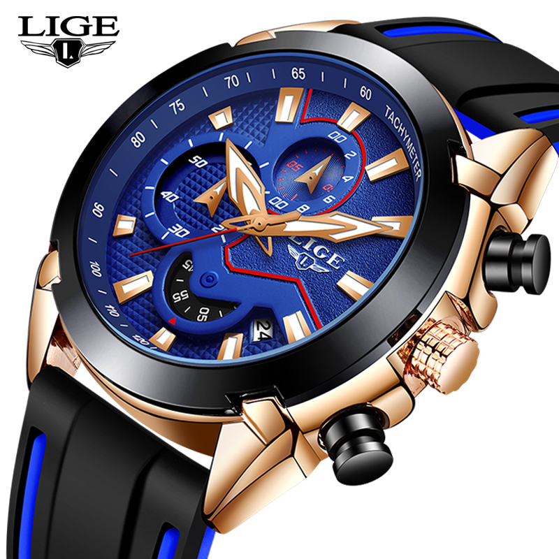 Relogio Masculino LIGE New Fashion Mens Watches Silicone Strap Top Brand Luxury Waterproof Sports Chronograph Quartz Watch Men
