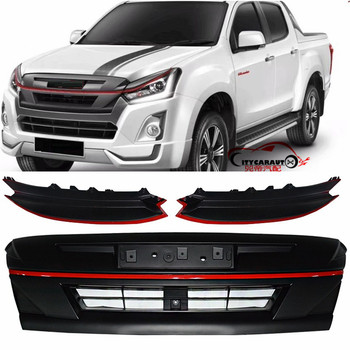 MODIFIED FRONT RACING GRILL GRILLS ABS LAMPS COVER BUMPER MASK TRIMS COVERS FIT FOR ISUZU D-MAX DMAX 2016-2019 ABS GRILLE
