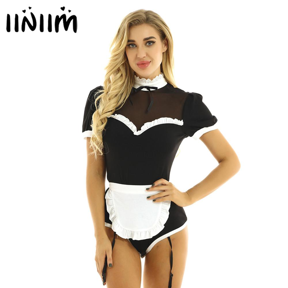 iiniim Women Adults Maid <font><b>Cosplay</b></font> <font><b>Halloween</b></font> <font><b>Sexy</b></font> Costumes Puff Sleeve Lacework Collar Mesh Splice Leotard Bodysuit with Garters image