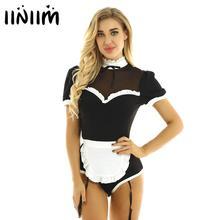 ملابس نسائية رائعة للهالوين من iiniim ملابس تنكرية للخادمة للبالغين بأكمام منتفخة وياقة شبكية للرقص ملابس داخلية مع أربطة