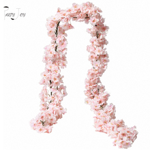PARTY JOY 2Pcs 1.8M Artificial Cherry Blossom Garland Fake Silk Flowers Hanging Vine for Party Wedding Arch Home Decor