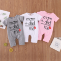 Summer baby girl boy romper short sleeve jumpsuit newborn baby clothes letter print Mon + Dad Equal to meInfant outfits