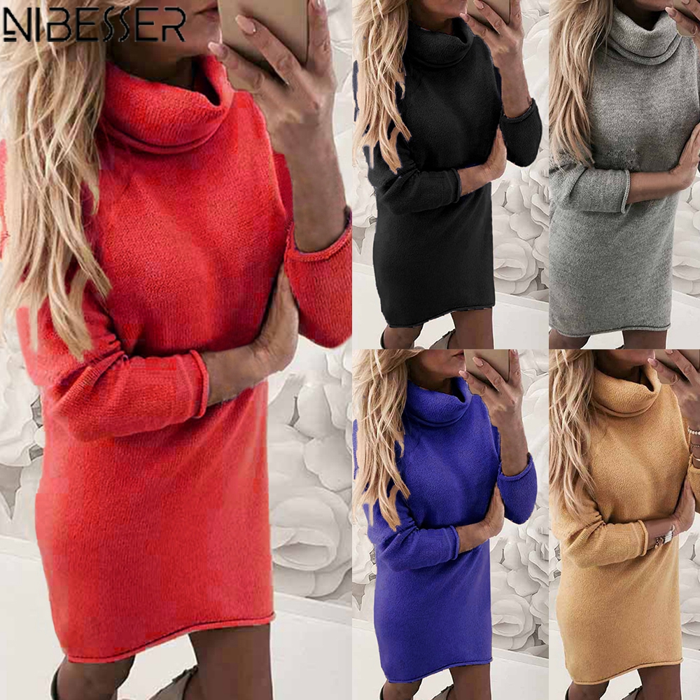 NIBESSER Turtleneck Long Sleeve Sweater Dress Women Autumn Winter Loose Tunic Knitted Casual Pink Gray Clothes Solid Dresses