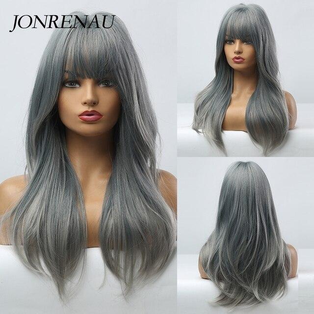 JONRENAU Cyan pelucas de cabello sintético degradado para mujer, pelo largo y liso, Color gris, con explosión, para Cosplay o fiesta