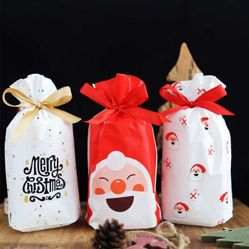 50/100p 23x15cm Christmas Plastic Drawstring Bag Candy Cookie Snack Birthday Party Wedding Decor Gift Bag 2020 New Year Presents