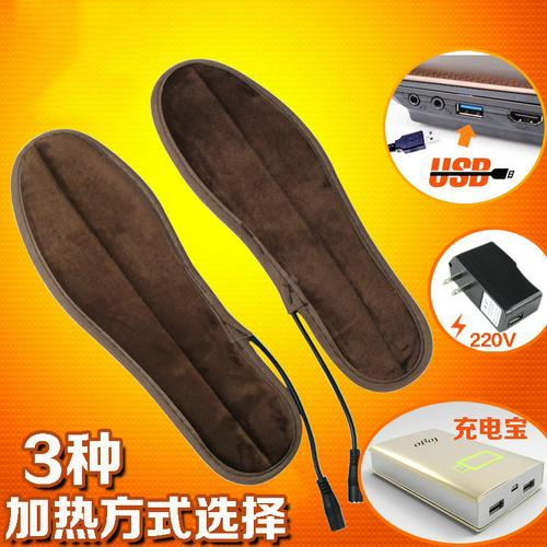 3 Heating Methods Heated Insoles Winter Shoe Inserts USB Charged Electric Insoles for Shoes Boot Keep Warm with Fur Foot Pads