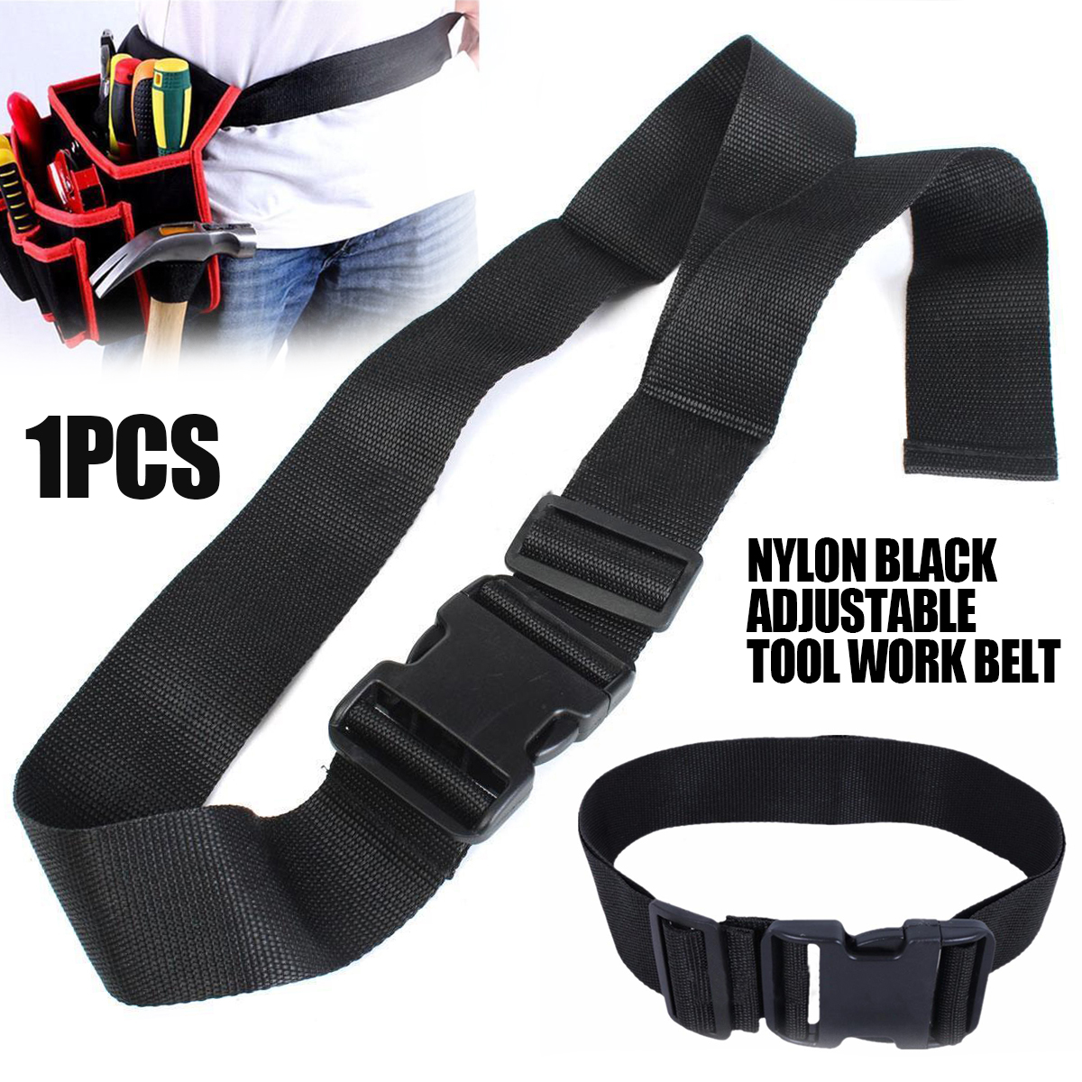 1PC Black Bag Belt Strap Waist Adjustable Nylon Belt Tool With Release Buckle For Outdoor Working Pouch Holder
