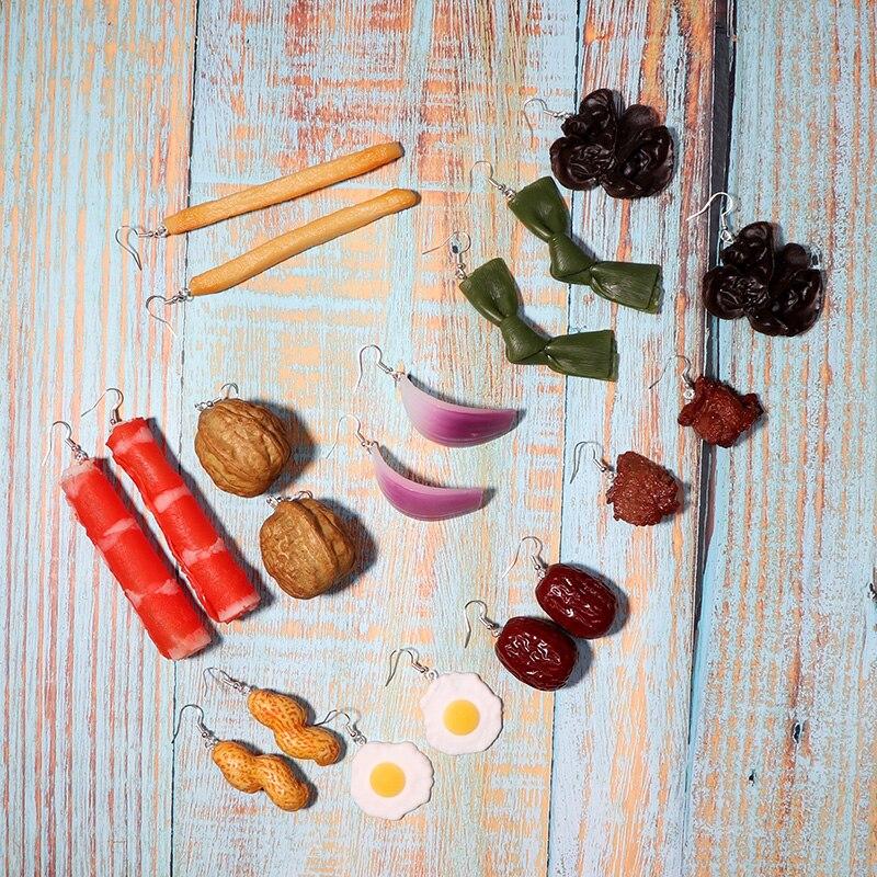 Крутые Имитационные необычные серьги с пищевыми продуктами для женщин, модные забавные длинные серьги геометрической формы с картофелем ф...