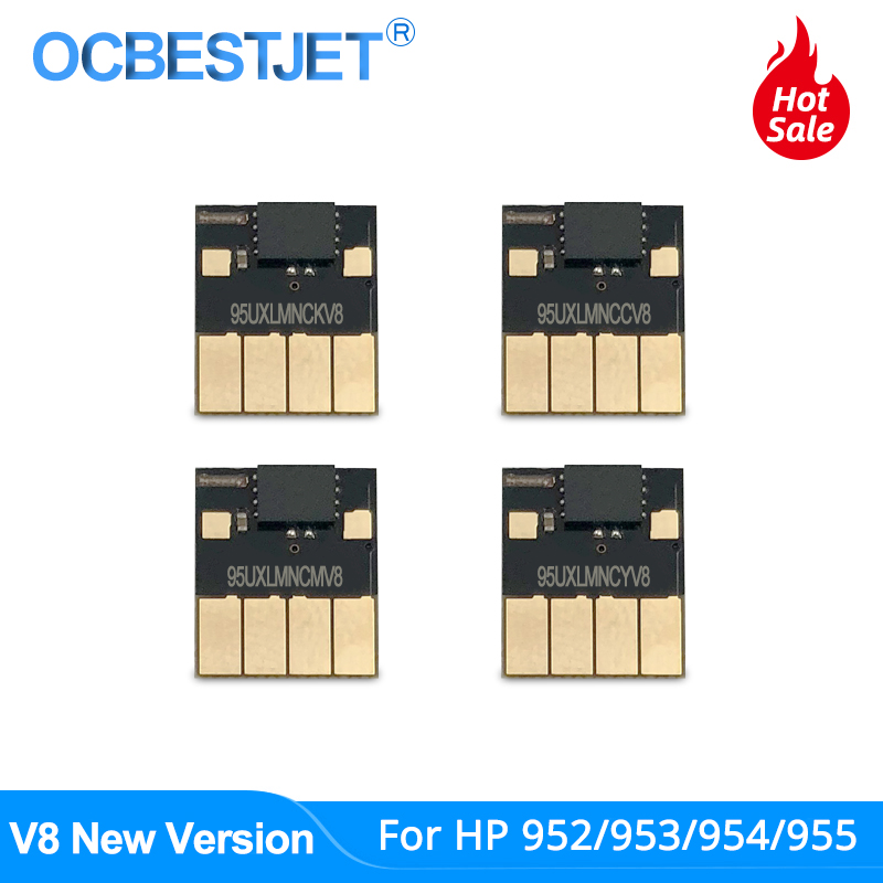 V8 New ARC Chip For HP 952 953 954 955 952XL 953XL 954XL 955XL For HP Officejet Pro 7740 8210 8710 8720 8730 8740 Permanent Chip