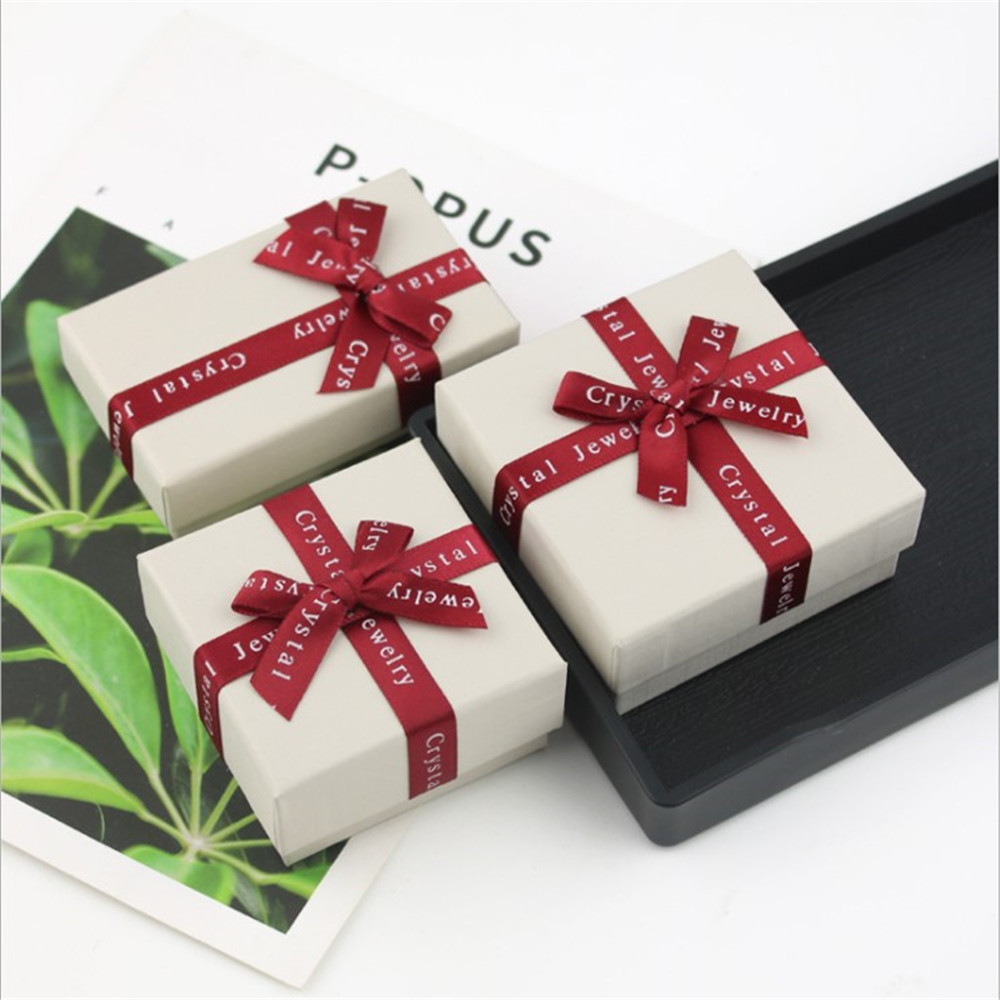 Jewelry Boxes Paper Beige Color Red Ribbon Bowknot For Jewelry Packing Display Gift Necklace Earring Box New Arrival