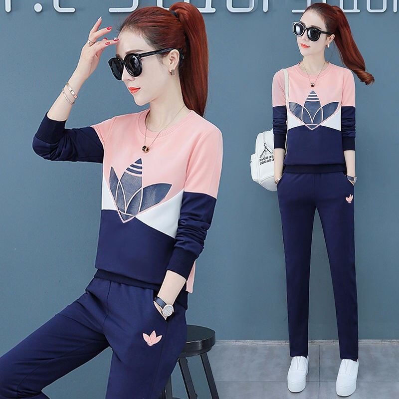 Casual Fashion Sports Clothing WOMEN'S Suit 2019 Autumn New Style Korean-style Loose And Plus-sized Pullover Hoody Two-Piece Wom