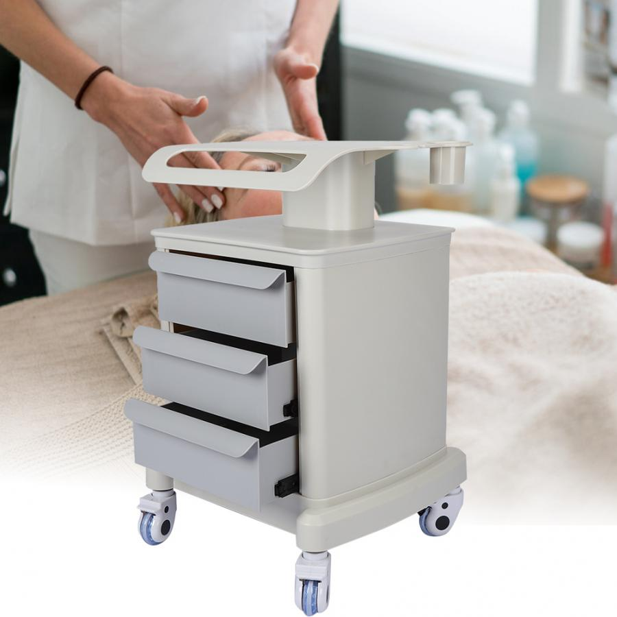 Trolley Cart Shelf Universal Rolling Wheels Storage Rack With 3 Tiers For Salon Spa Use