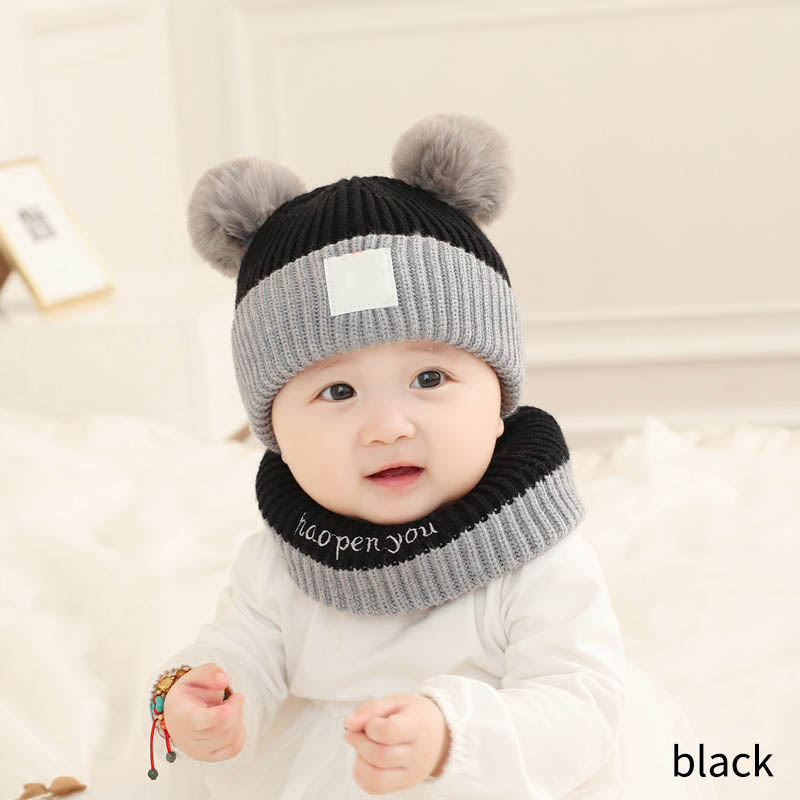 Baby Hat WOOL Kids Children Boy Girl Knit Knitted Cap with Scarf Set
