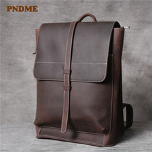 PNDME simple vintage genuine leather men's backpack casual high quality crazy horse cowhide women's outdoor travel work bookbag