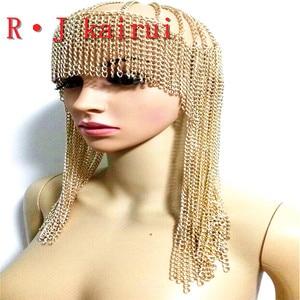 Image 2 - ใหม่แฟชั่นสไตล์WRB949ผู้หญิงสายรัดโซ่ทองชั้นใบหน้าโซ่เครื่องประดับคอสเพลย์ผมโซ่เครื่องประดับ3สี