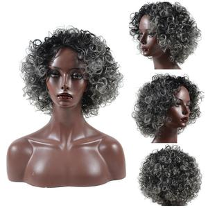 New Chic Afro perwersyjne kręcone peruki damskie naturalną linią włosów czarny srebrny szary mieszane peruki syntetyczne Hairpiece akcesoria do włosów