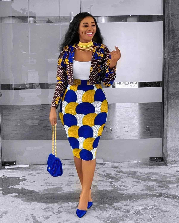 Set de 2 piezas de mujer Dashiki, conjunto africano de dos piezas de manga larga, trajes cortos, Impresión de La falda Midi, atuendo Casual, ropa de África