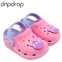 DRIPDROP Kids Slippers Boy Beach Sandals Girls Summer Garden Clogs Baby Flip Flops Toddler Eco-friendly Shoes with 5 Stickers