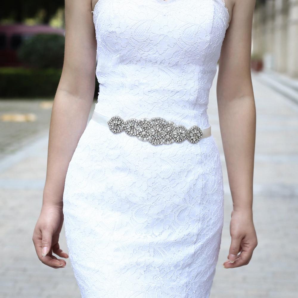 TRiXY S94 Rhinestones Bridal Belt Crystal Wedding Dress Belt Ribbon Bridal Sashes Wedding Dress Accessories