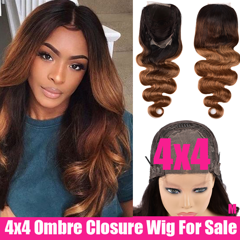 4x4 Closure Wig Middle Part 150% Remy Glueless Preplucked Brazilian Wavy Lace Wig Ombre Human Hair Wigs For Black Women