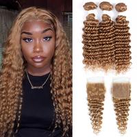 Deep Wave Hair Bundles With Closure 4x4 Brazilian Light Brown Blonde Human Hair 3 Bundles With Closure KEMY Remy Hair Extension