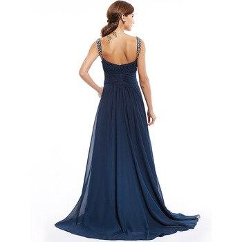 Dressv dark navy long evening dress cheap beading ruched sleeveless wedding party formal dress a line evening dresses 2