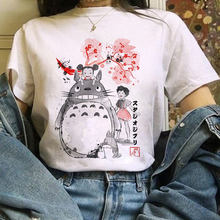 Camiseta feminina totoro studio ghibli impresso camiseta com manga curta harajuku kawaii t-shirt de grandes dimensões feminino casual topos roupas