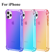 100pcs/lot Gradient Colorful Transparent case For iPhone 11 Pro Max Case Ultra thin Soft Silicone for 11pro Cover