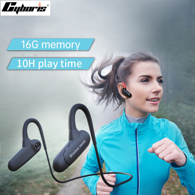 Cyboris Không Tai Nghe Nhét Tai Bluetooth Thể Thao Dẫn Truyền Xương 16GB Mp3 Nghe Tai Nghe 10 Giờ Thời Gian Chơi Chạy IPX7 hifi Bass