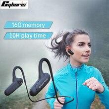 Cyboris não na orelha bluetooth fone de ouvido esporte condução óssea 16gb mp3 player fone de ouvido 10 horas jogar tempo correndo ipx7 alta fidelidade graves