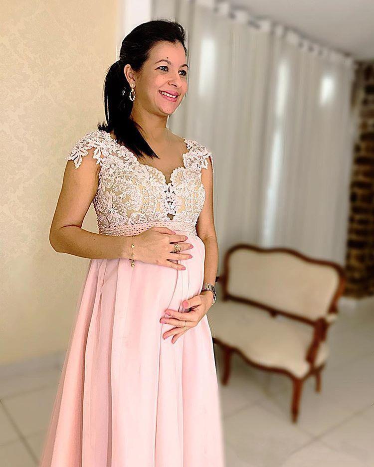 Maternité dentelle perlée arabe robes de soirée avec Cap manches rose en mousseline de soie longues robes de bal élégant formelle fête robes enceintes - 3