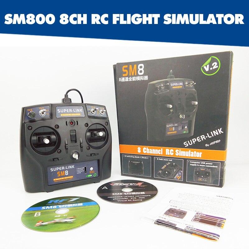 8-Canal SM8 Simulador de modelo de avión drone control remoto G7 G7.5 Phoenix 5 XTR helicóptero de ala fija