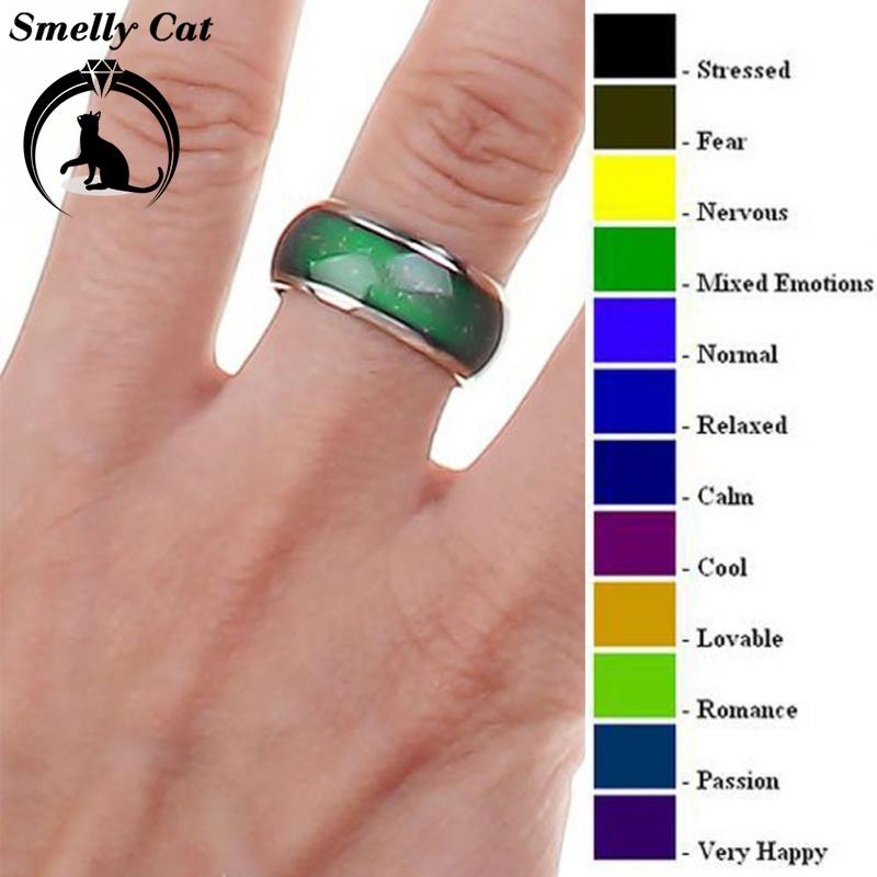 Smelly Cat Fine Jewelry Mood Ring Color Change Emotion Feeling Mood Ring Changeable Band Temperature Ring