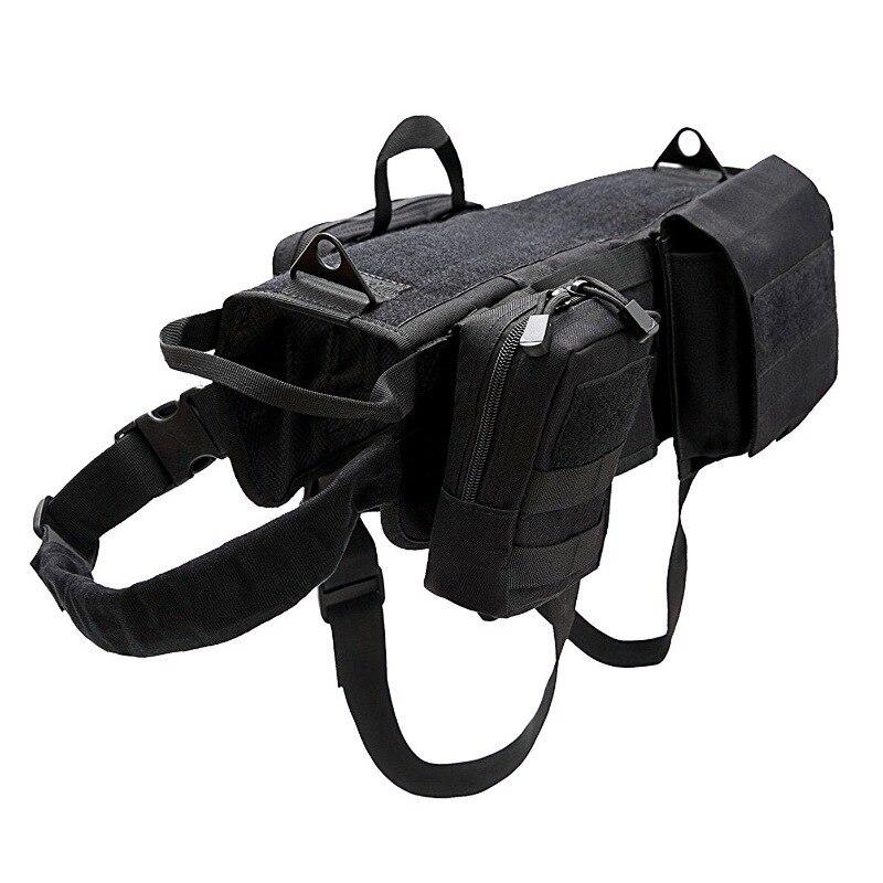 SYPUZILE caza K9 servicio perro MOLLE chaleco arnés perro camiseta con mango de tracción chalecos para mascotas con 3 bolsas 4 tamaños Chaleco táctico de gran raza para perros, equipo táctico para fanáticos del ejército, ropa para perros, correas de pecho K9
