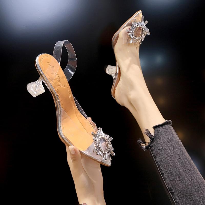 Mulheres de luxo bombas 2019 transparente salto alto sexy dedo do pé apontado deslizamento-na festa de casamento marca sapatos de moda para senhora saltos finos