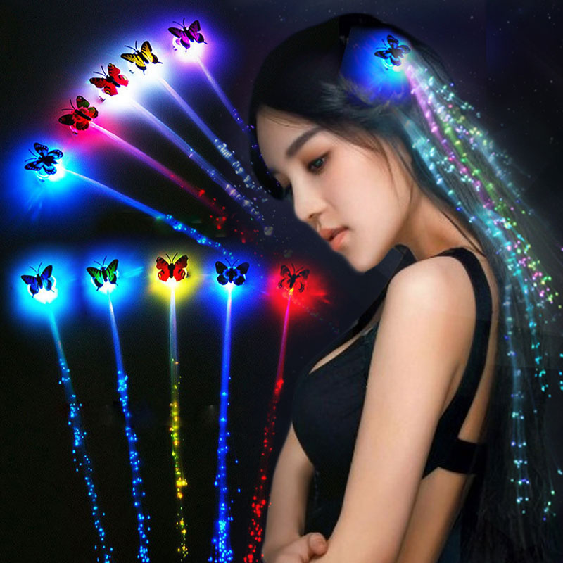 LED Wigs Glowing Flash Ligth Hair Braid Clip Colorful Braid Colorful Fashion Jewelry Luminous Cool Flashing For Gift